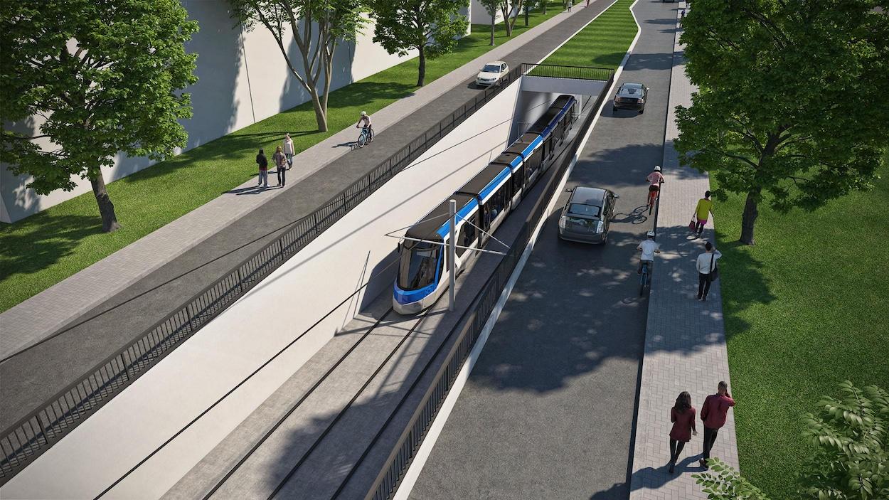 Le tracé de la ligne de tramway comprend deux portions souterraines totalisant une longueur de 3,5 km.