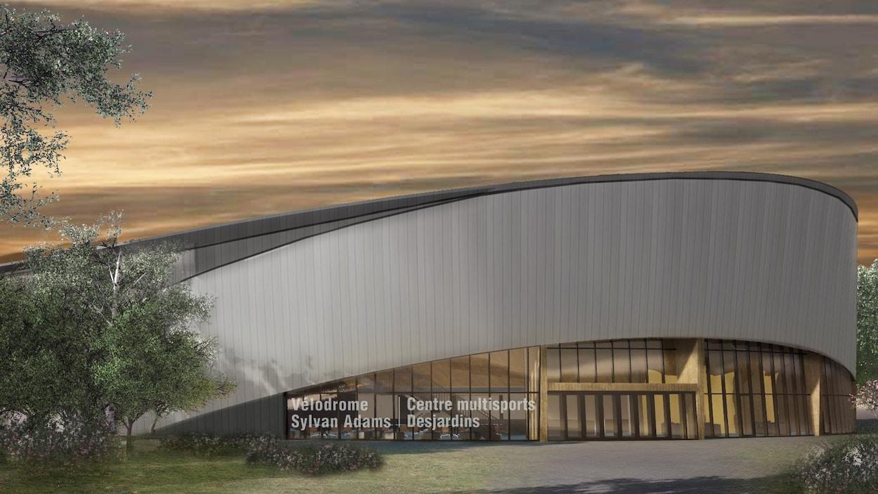 Dessin de l'architecture du futur vélodrome intérieur Sylvan Adams.