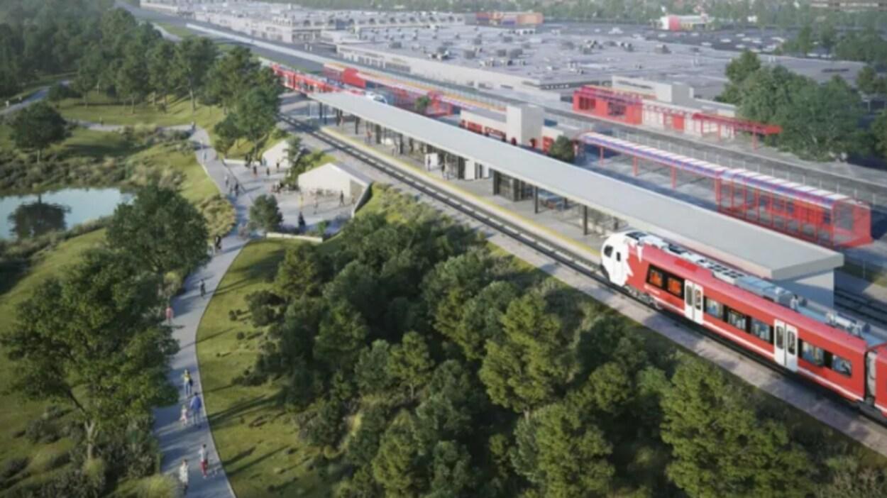 Une représentation du projet de l'étape 2 du train léger à Ottawa.