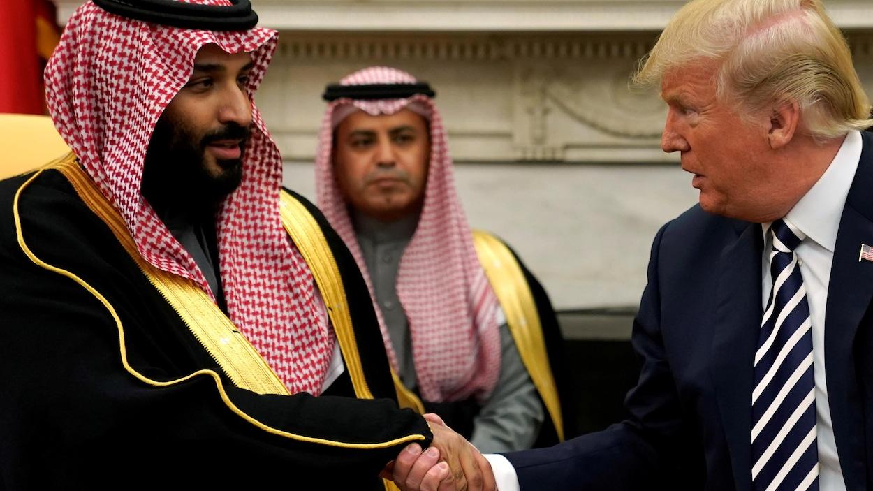 Le président Donald Trump (droite) et le prince héritier saoudien Mohammed ben Salmane (gauche) à la Maison-Blanche