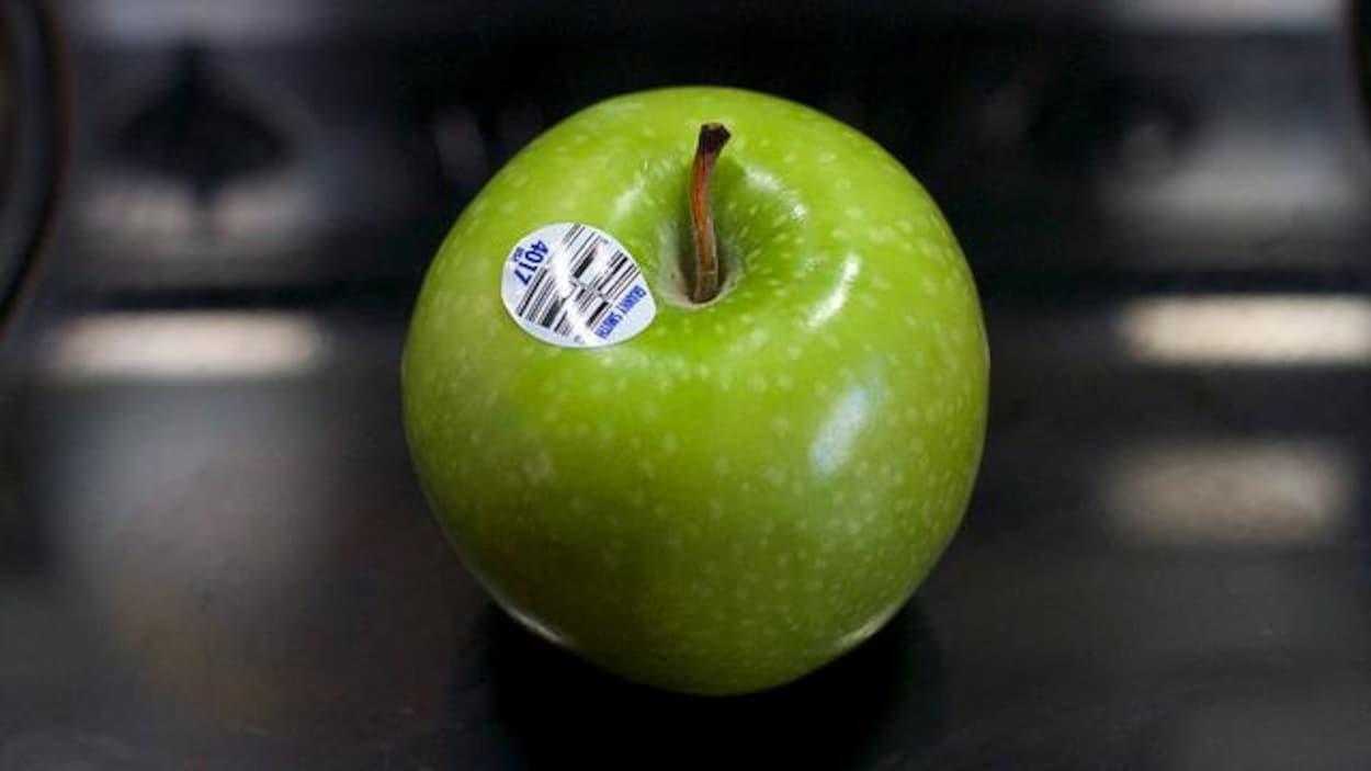 Photo d'un fruit étiqueté