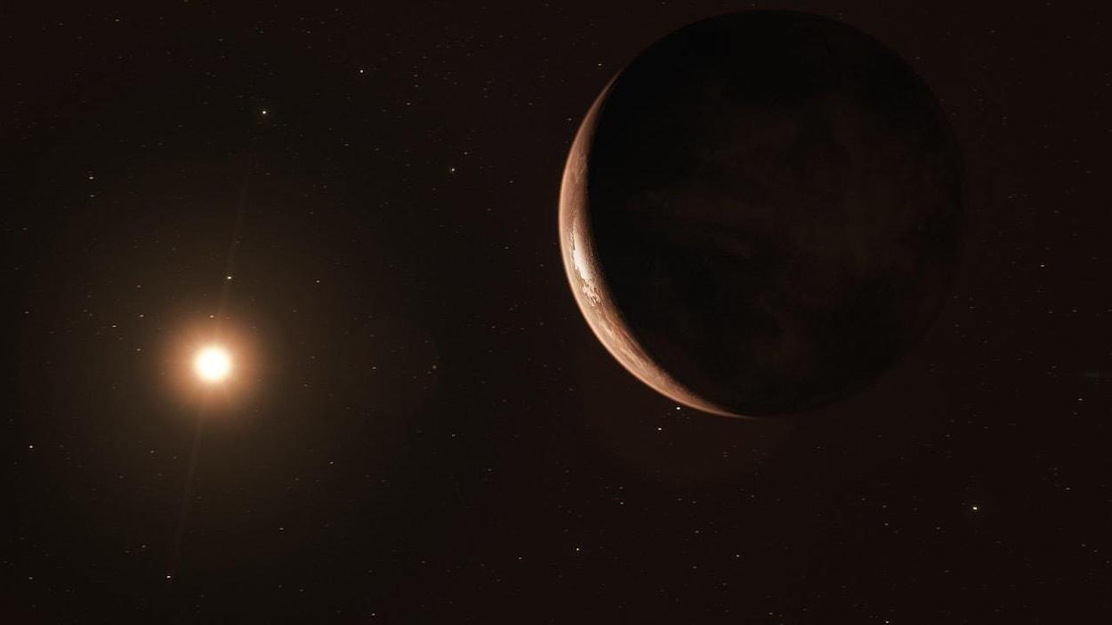 Une représentation artistique de la «super-terre» en orbite autour de l'étoile de Barnard.