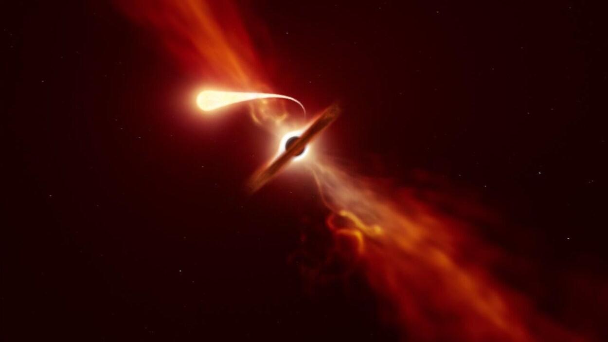 Vue d'artiste d'une étoile subissant l'effet de marée d'un trou noir supermassif.