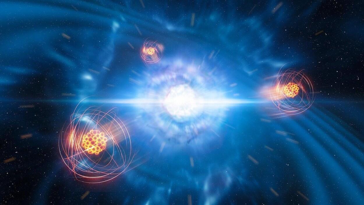 Illustration artistique montrant deux étoiles à neutrons de faibles dimensions.