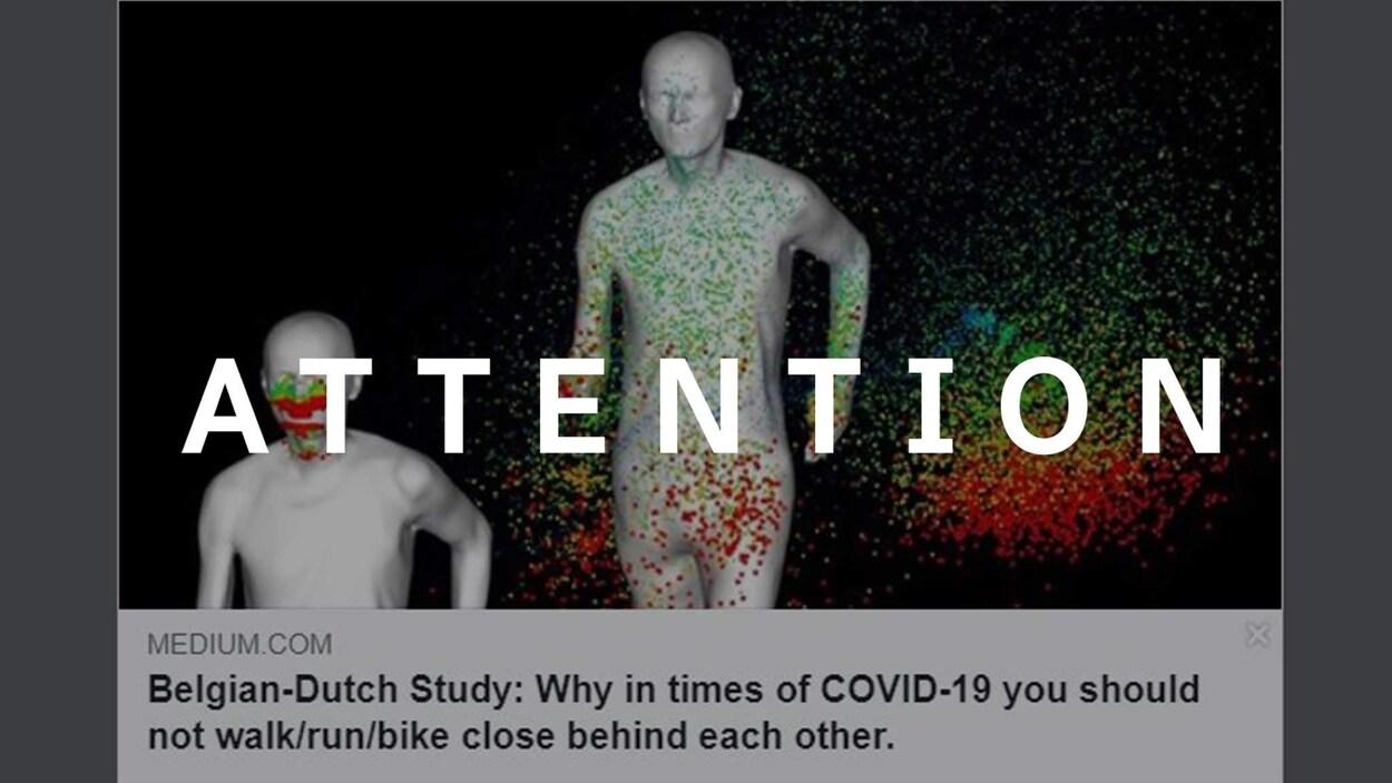 Une modélisation de particules qui s'échappent par la bouche d'un coureur. Le mot ATTENTION apparaît sur l'image.
