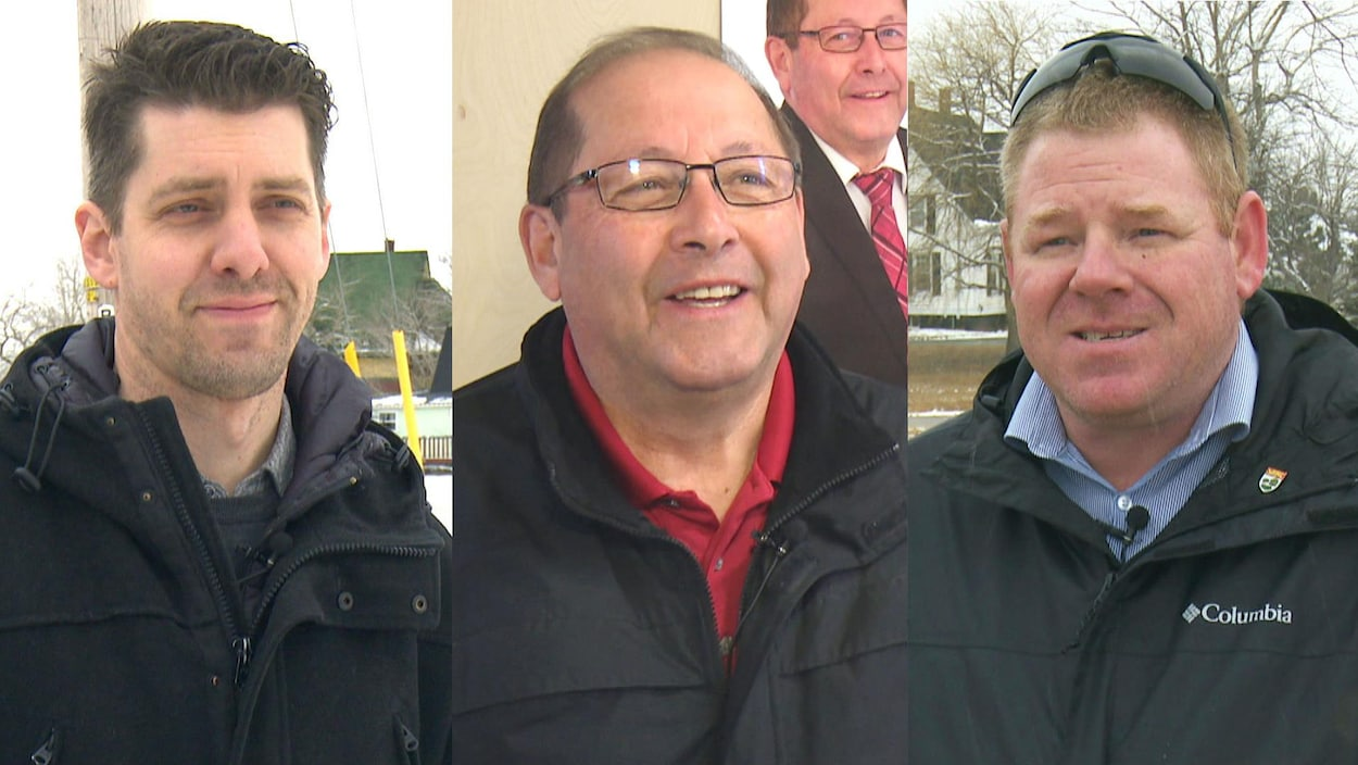 Montage photo des trois candidats à l'élection du 23 avril 2019 dans Évangéline-Miscouche, à l'Île-du-Prince-Édouard.