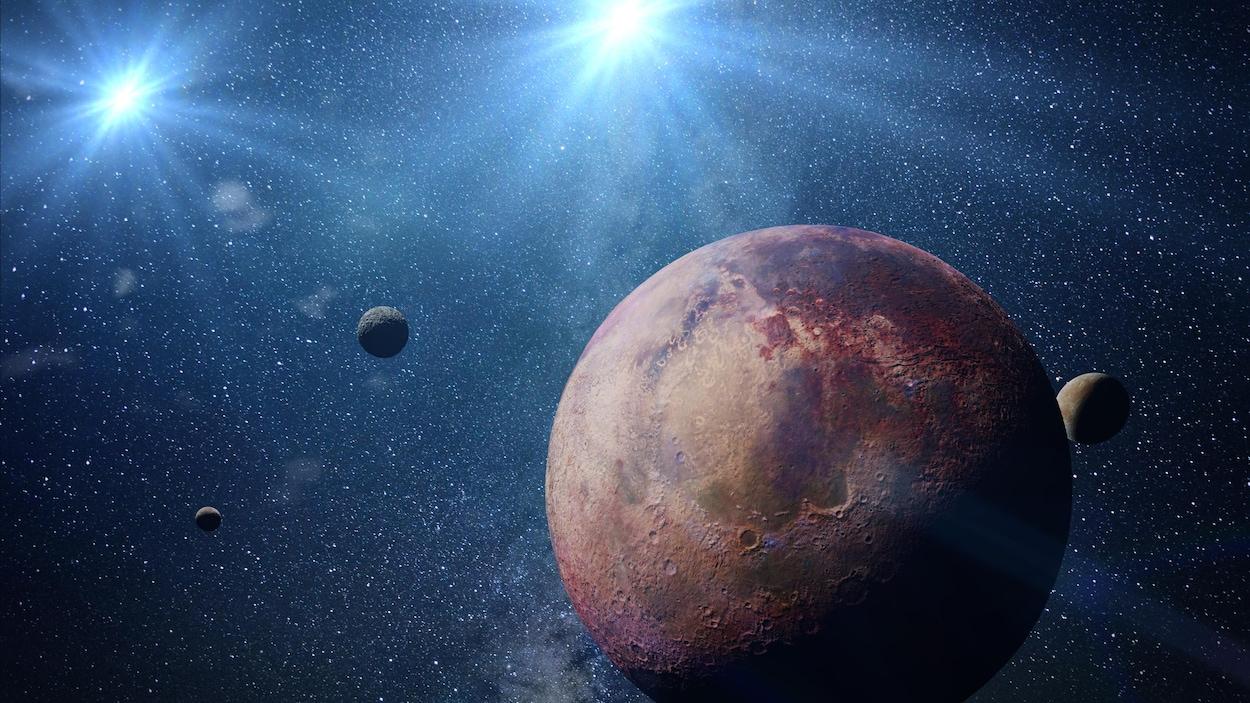 Une exoplanète (image de synthèse).