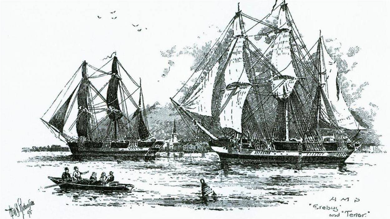 Emluminure ancienne montrant deux bateauz trois-mâts aux voiles sorties et une petite barque en avant-plan.
