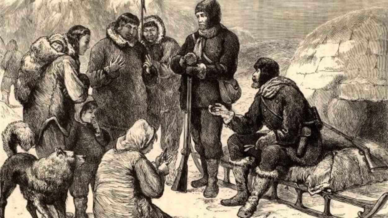 Gravure reproduisant une scène où des blancs rencontre des Inuits dans le Grand Nord.