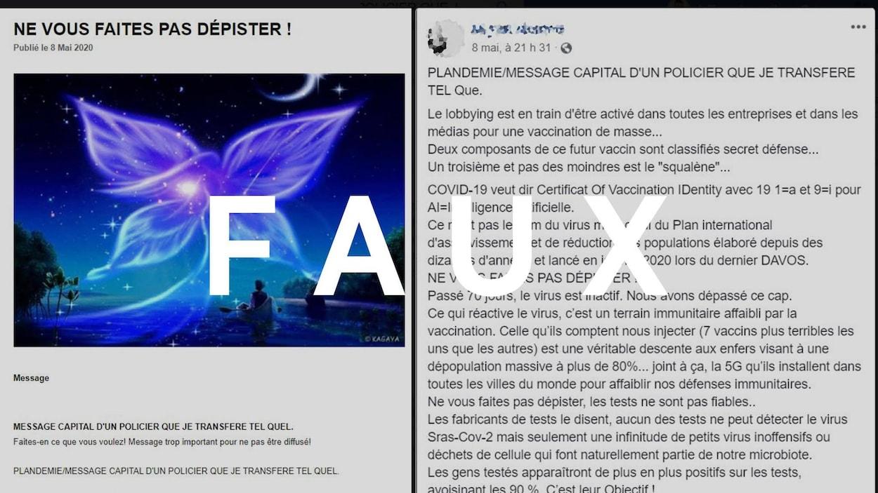"""Capture d'écran d'un article intitulé """"Ne vous faites pas dépister"""" et une publication Facebook sur le même sujet. Le mot """"FAUX"""", écrit en lettres majuscules, est transposé sur l'image."""