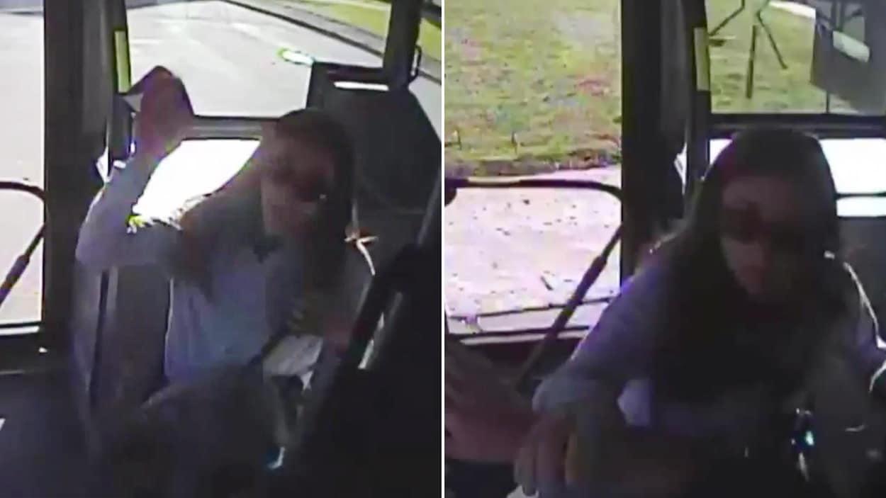 Deux photos. D'abord, on voit une femme lever le bras dans les airs vers un chauffeur dans un bus et, ensuite, la même femme qui empoigne le bras du chauffeur.