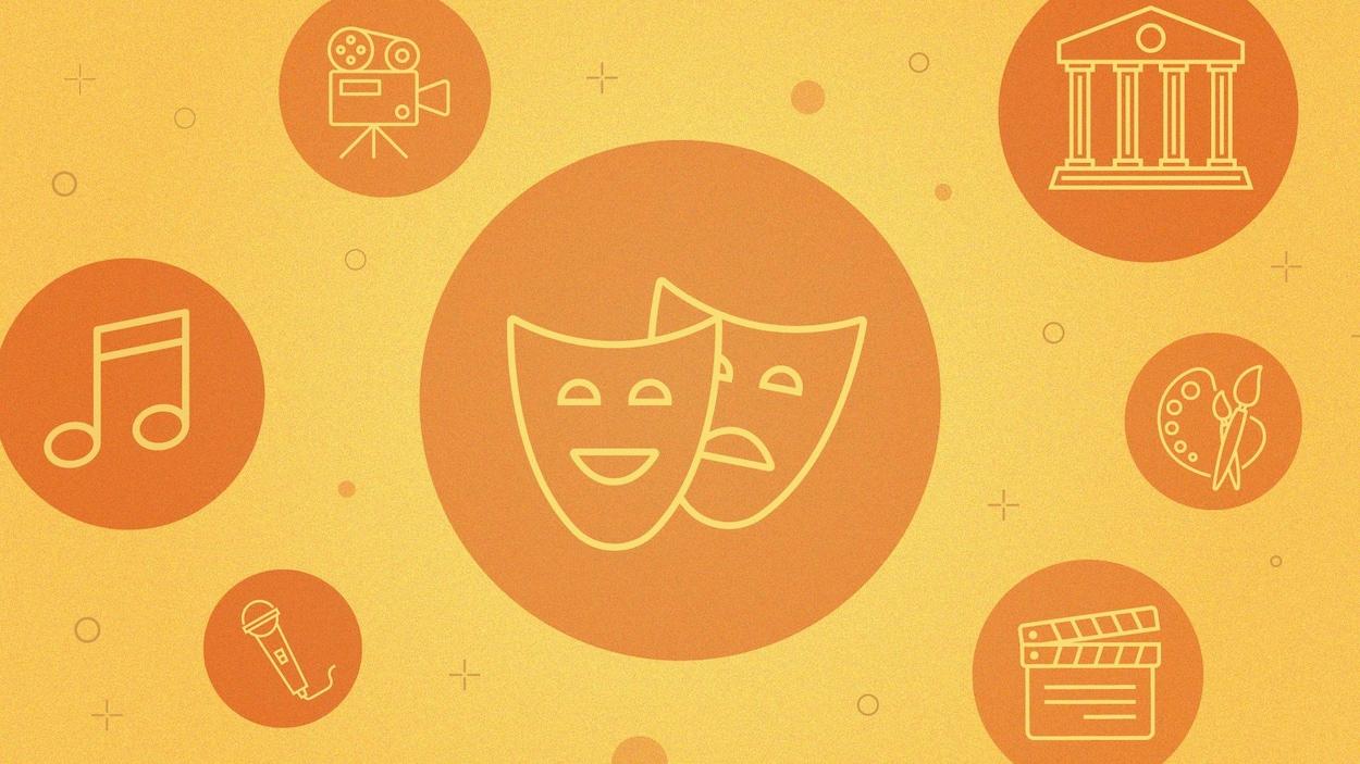 Montage graphique représentant des icônes de diverses formes d'art : la musique, les beaux-arts, le cinéma, le théâtre et un musée.