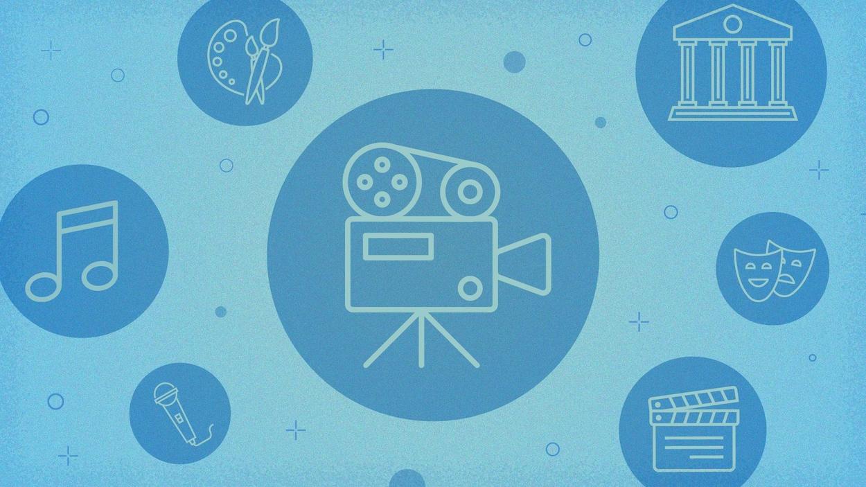 Montage graphique d'icônes représentants les arts sous diverses formes : le cinéma, le théâtre, les musées, les beaux-arts et la musique.