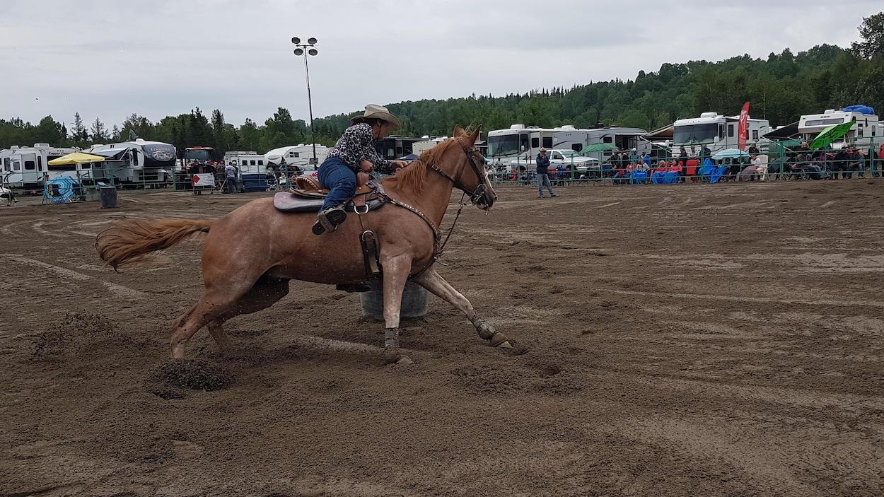 Une cavalière sur son cheval