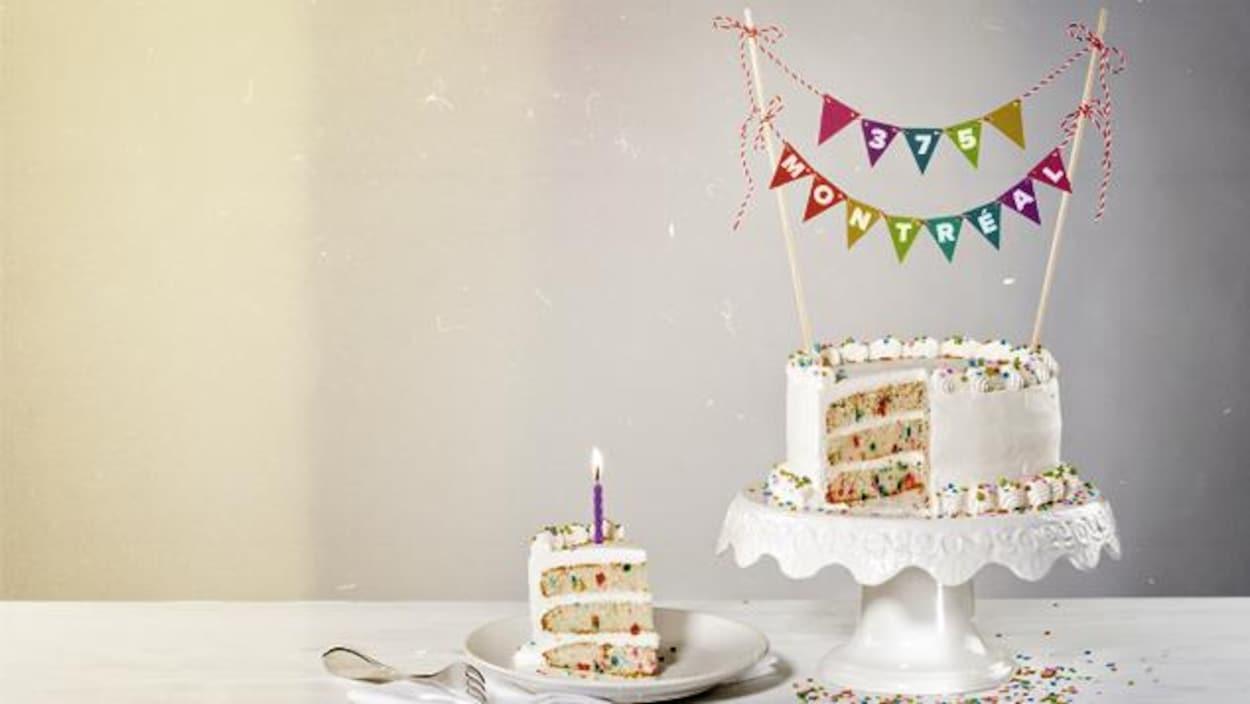 Un gâteau d'anniversaire pour la fête de Montréal qui célèbre ses 375 ans.