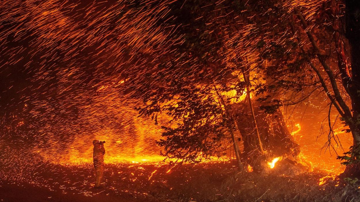 Un photographe en combinaison au milieu de l'incendie prenant une photo d'un arbre en pleine chute.