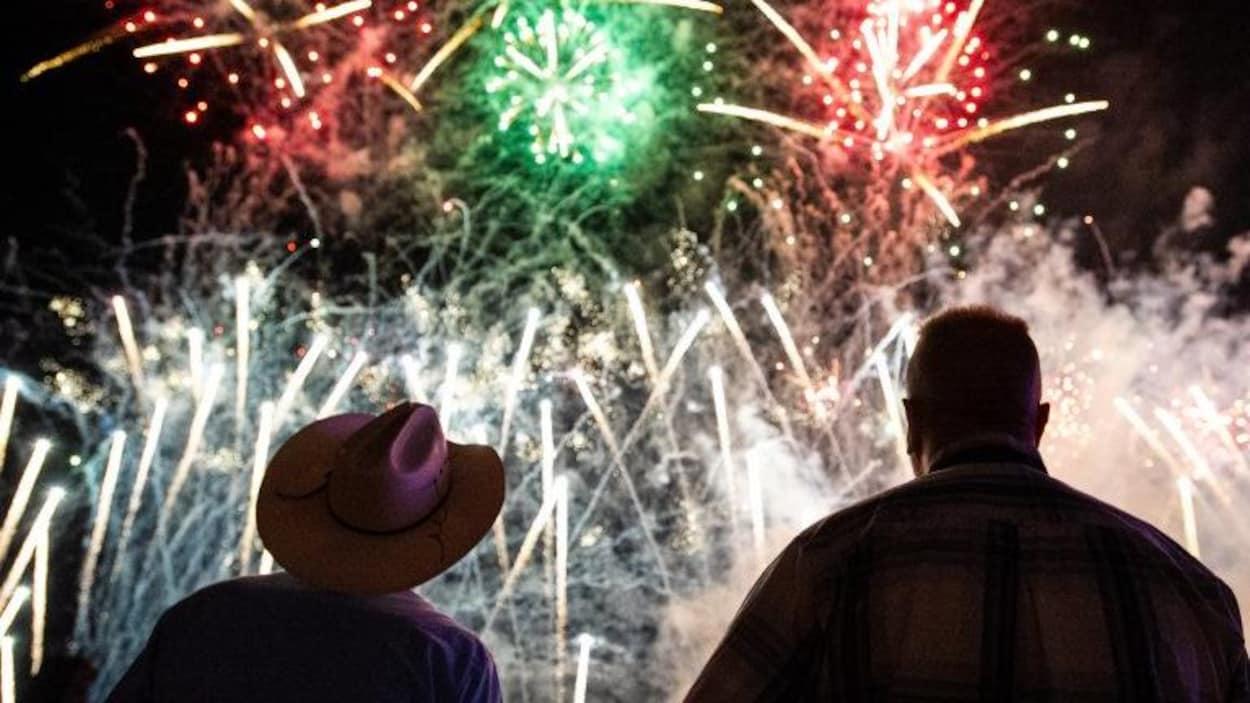 Deux hommes de dos devant des feux d'artifice.