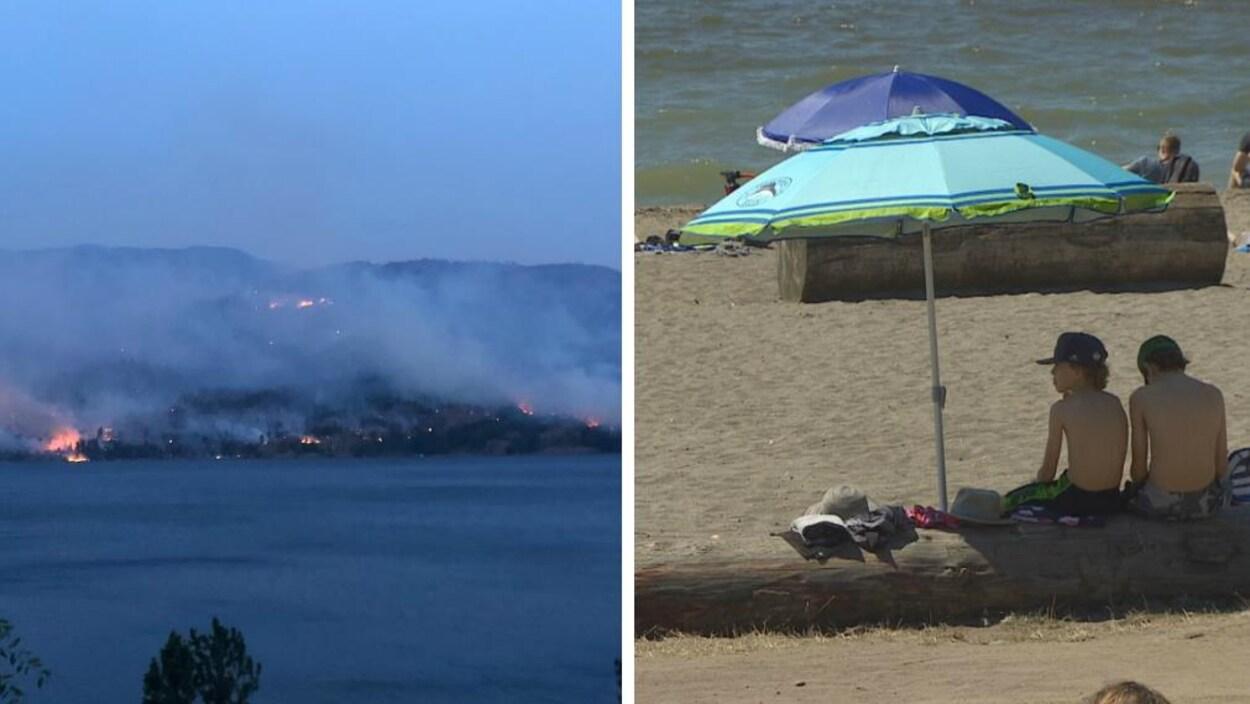 Une image séparée en deux. À gauche, on voit un lac avec, en arrière-plan, une montagne dont la forêt brûle. À droite, deux enfants sont assis sur un tronc d'arbre sous un parasol sur une plage devant un plan d'eau.