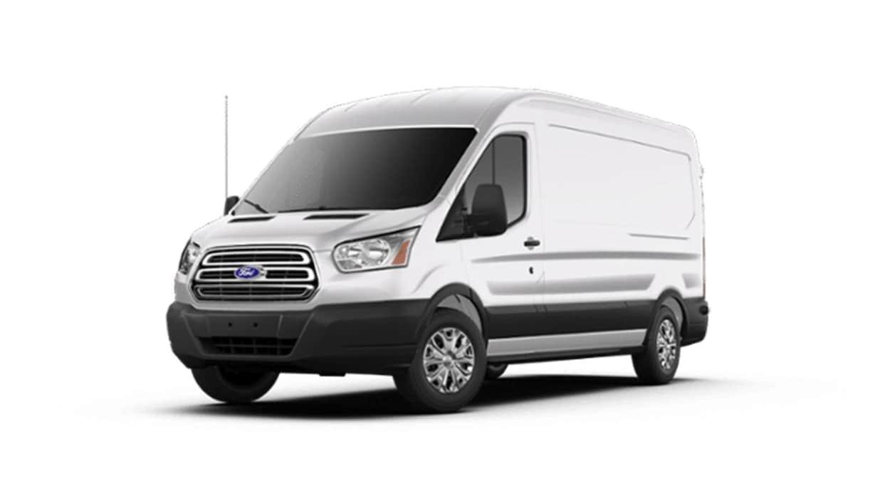 Une maquette vue de trois quarts d'un Ford Transit blanc.