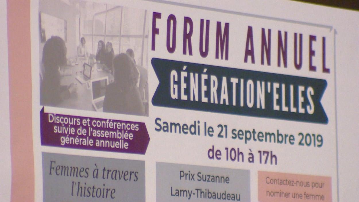 Une affiche où on peut lire : Forum annuel GÉNÉRATION'ELLE samedi 21 septembre 2019 de 10h à 17h. On peut également y lire qu'il y aura des discours et conférences suivie de l'assemblée générale annuelle.