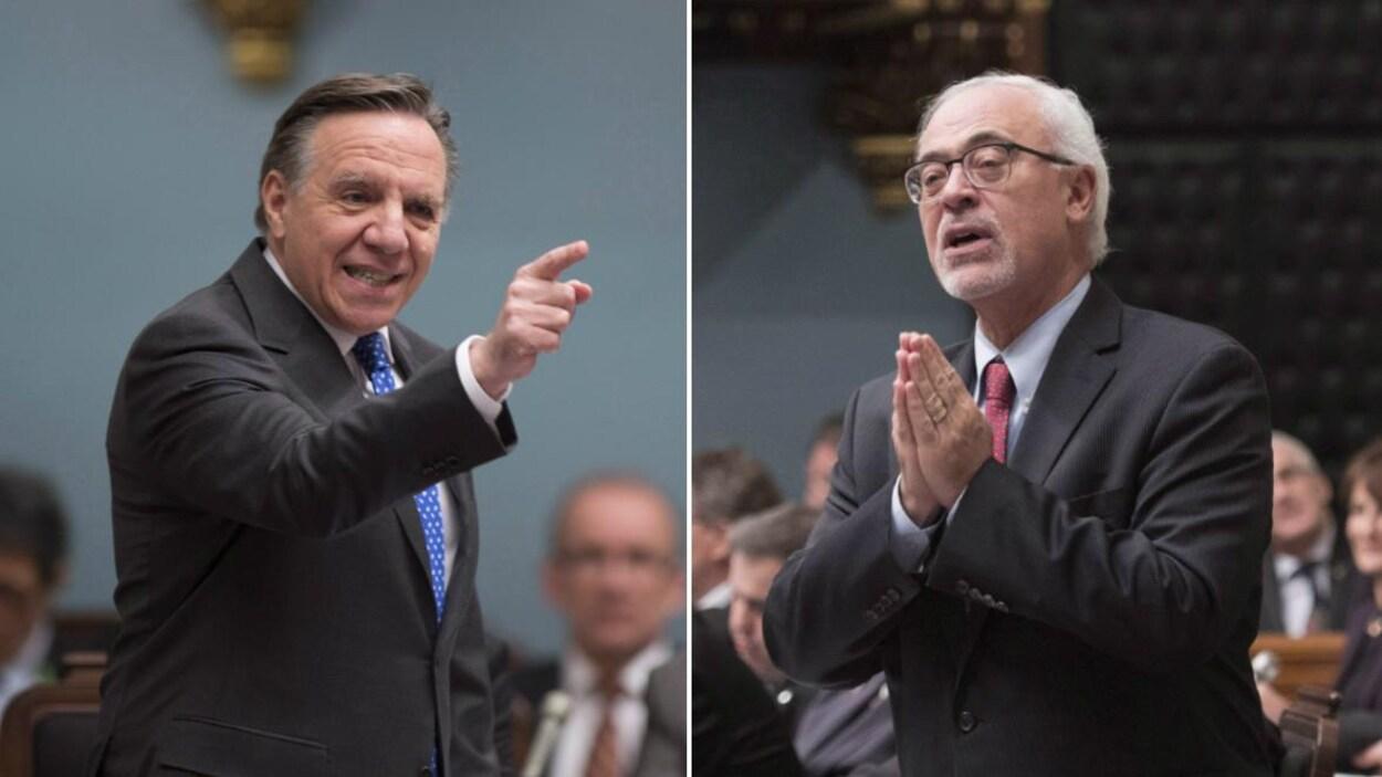 Montage présentant les deux hommes à l'Assemblée nationale.
