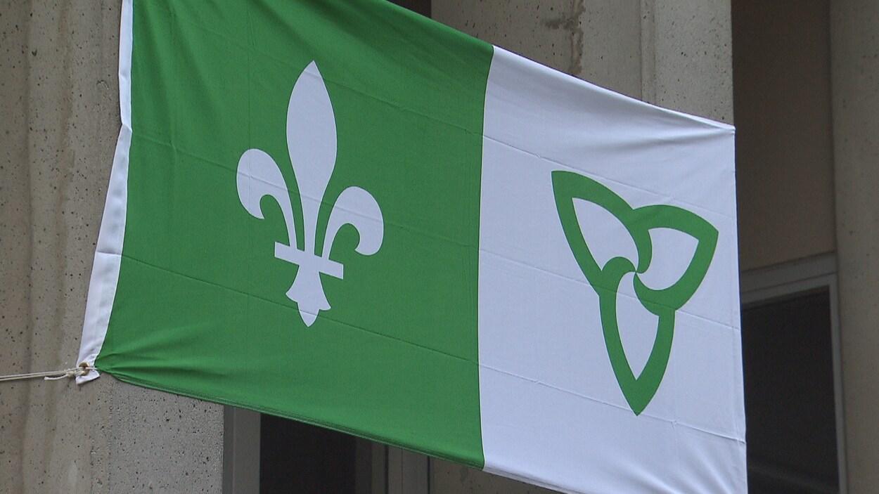 Le drapeau franco-ontarien représente la fleur de lys, emblème de la francophonie, et la fleur de trille, emblème de l'Ontario.