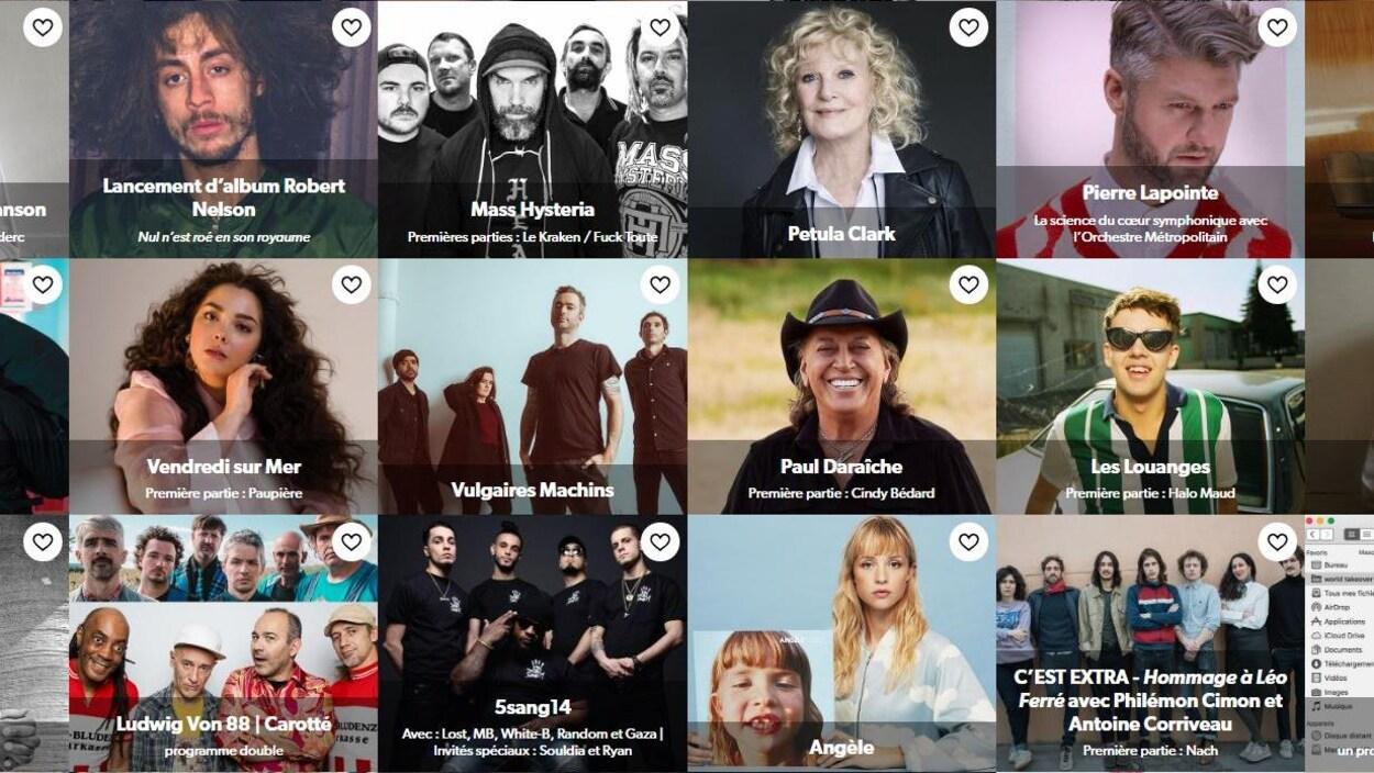 Une capture d'écran du site Internet où l'on peut voir 18 fiches d'artistes ou de groupes artistiques.