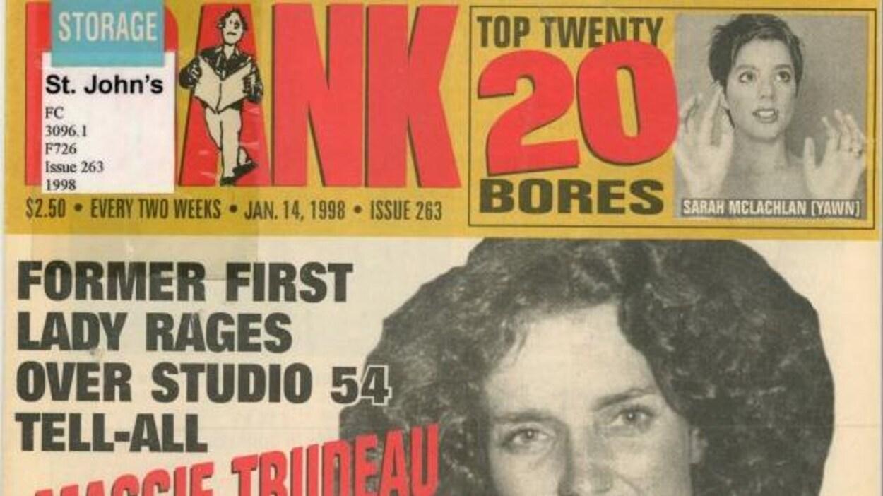 Couverture d'un magazine daté du 14 janvier 1998 sur laquelle on voit entre autres le mot Frank en grosses lettres et une photo de Maggie Trudeau.