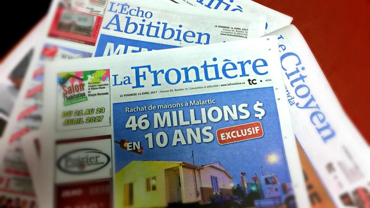 Les journaux locaux L'Écho Abitibien, La Frontière et Le Citoyen de Rouyn-Noranda et de la Vallée-de-l'Or sont vendus.