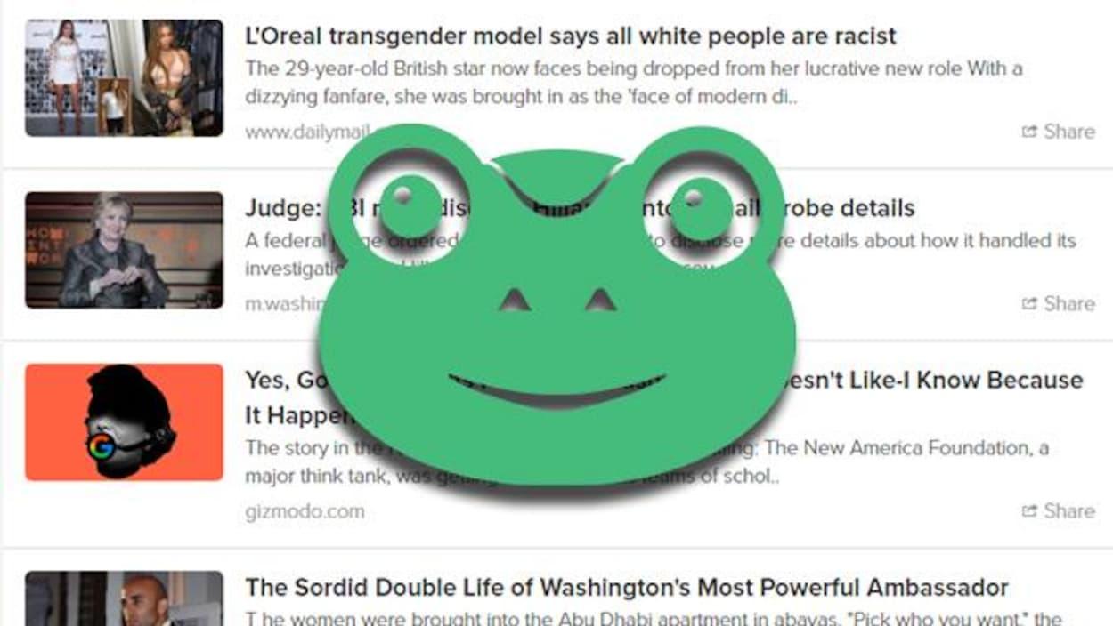 Logo de Gab, avec en arrière-plan la section nouvelles du site. Le logo ressemble à une grenouille verte.