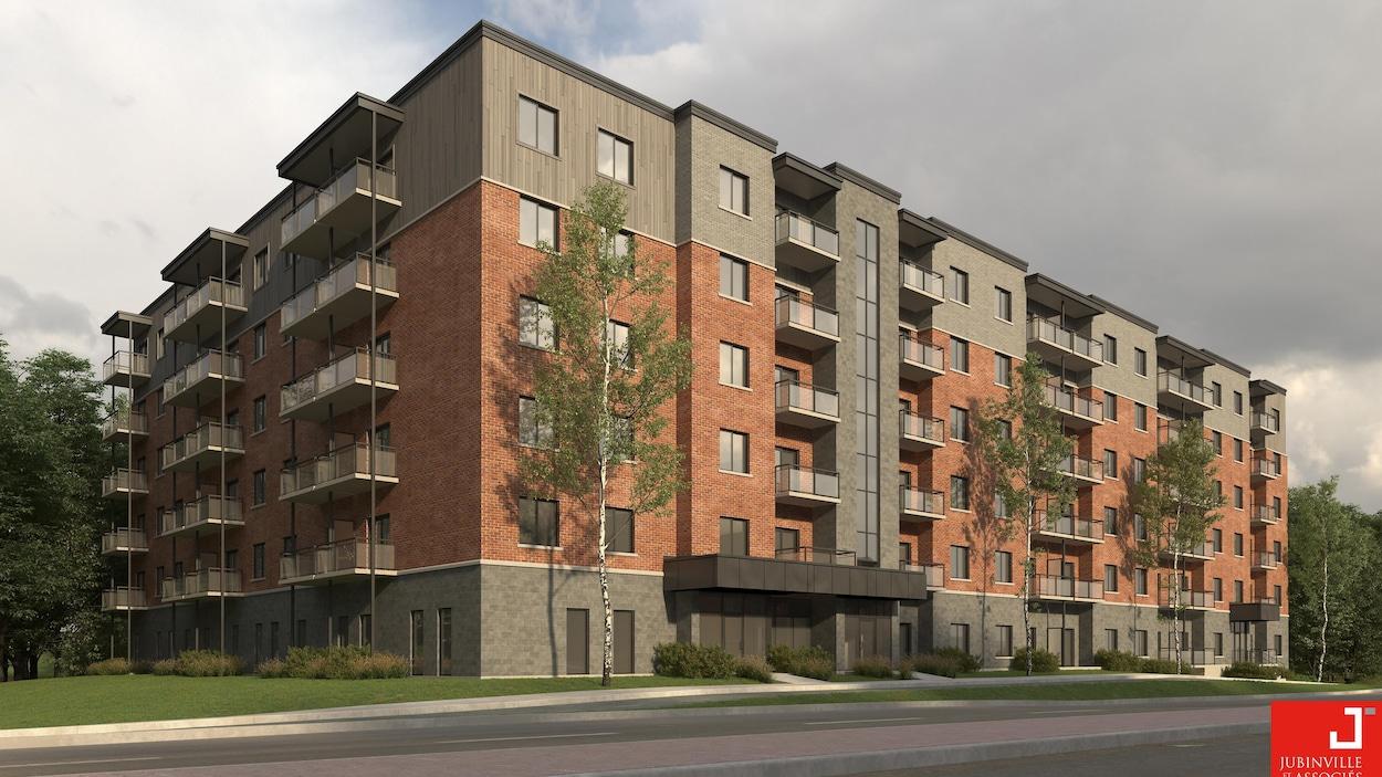 Image de la façade du nouveau projet de l'OMH rue Galt Ouest qui comprendra les 116 logements sociaux.