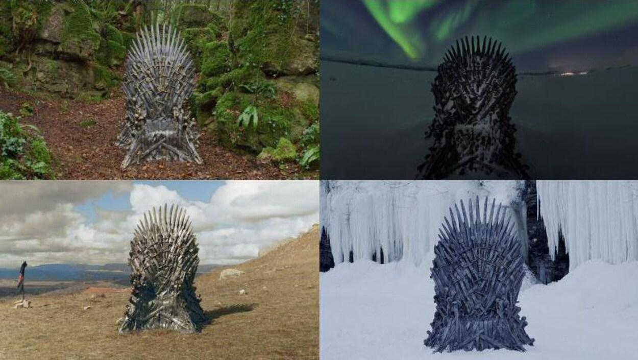 Quatre trônes sont placés dans plusieurs lieux en nature : une forêt, un endroit enneigé, un endroit glacé et une montagne aride.