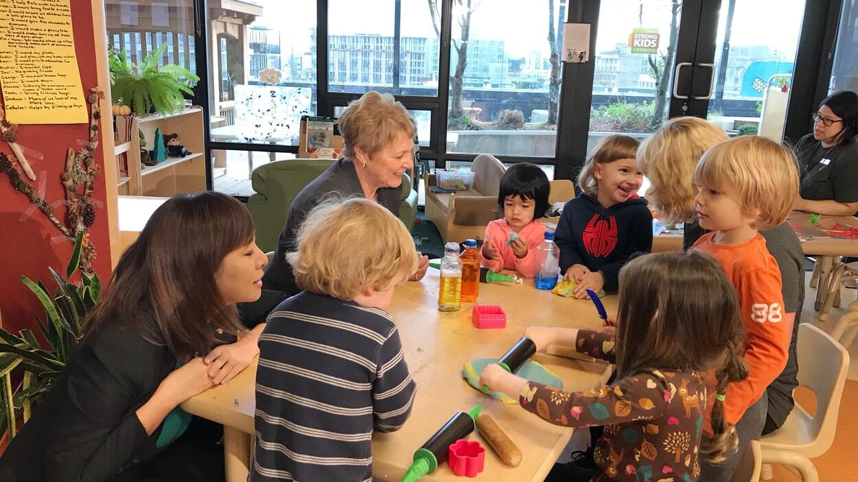 De jeunes enfants et des éducatrices jouent sur une table avec de la pâte à modeler.