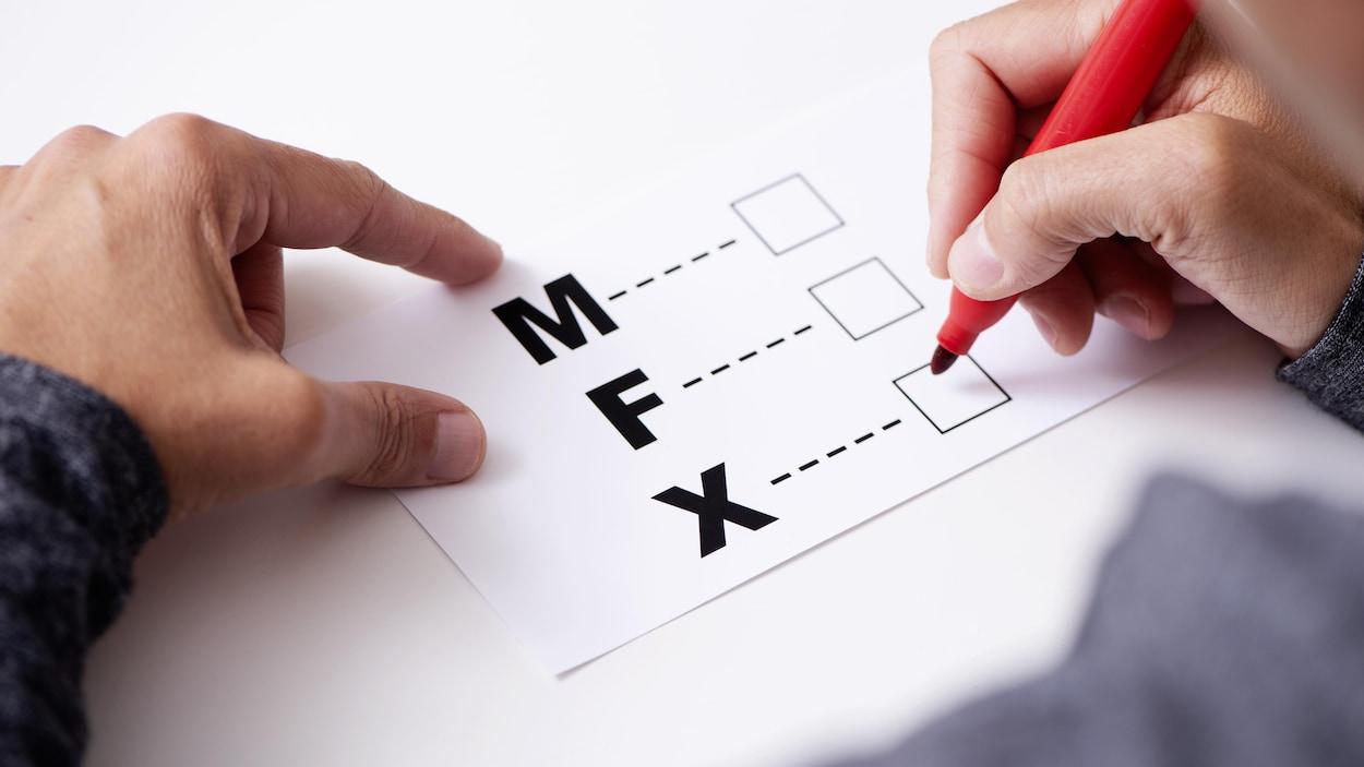 Une personne s'apprête à cocher une case M, F ou X.