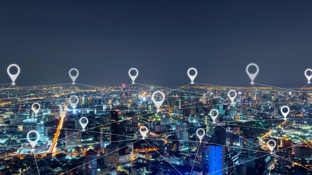 Une ville par-dessus laquelle plusieurs lignes sont connectées. Conceptualisation de la géolocalisation.