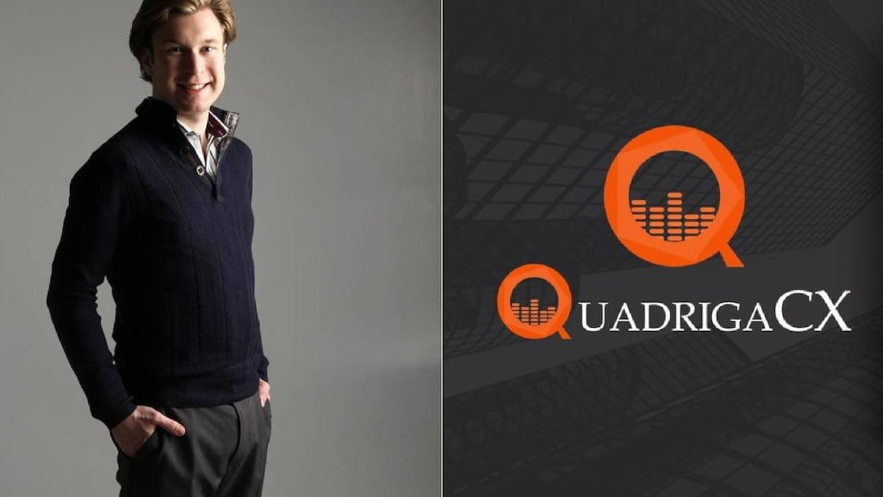 Un homme et le logo de la plateforme QuadrigaCX.