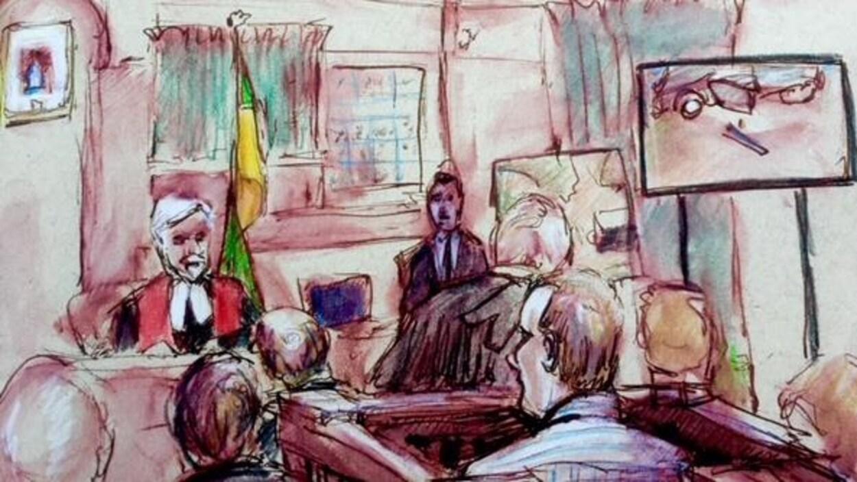 Croquis de la salle d'audience avec en avant-plan, de dos, l'accusé et en arrière-plan le juge.