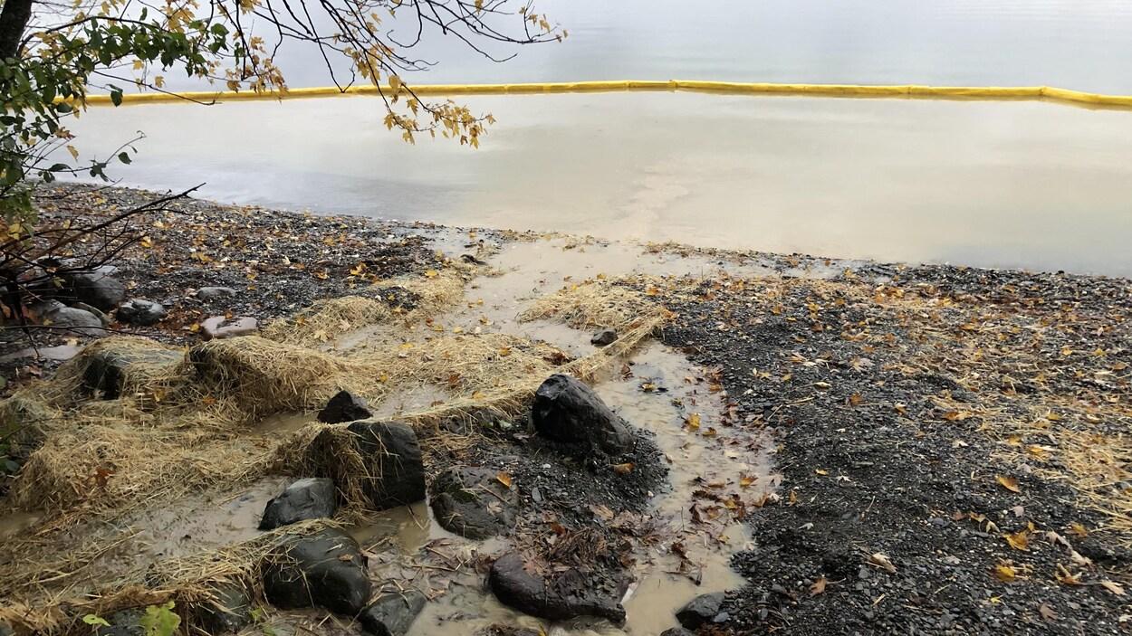Une digue retient des sédiment jaunâtres dans le lac.