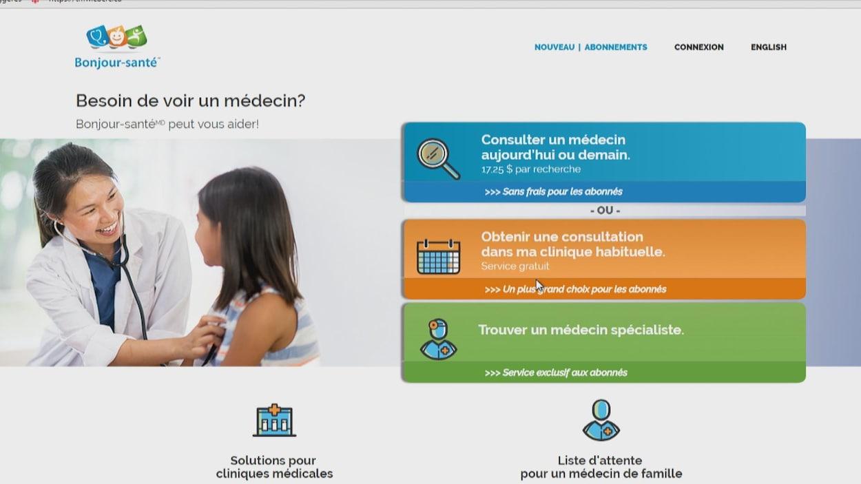 Une image de la plate-forme web où les patients peuvent prendre un rendez-vous.