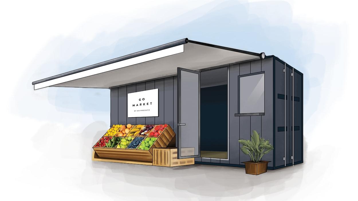 Un conteneur à déchets avec un porte, une fenêtre, une enseigne ainsi que des bacs en bois de fruits en avant.