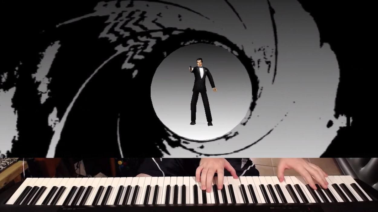 Une capture d'écran montrant un extrait de la vidéo de Jackson Parodi dans lequel la partie supérieure de l'écran affiche le jeu vidéo GoldenEye 007 et la partie inférieure montre le piano et les mains de Jackson Parodi.