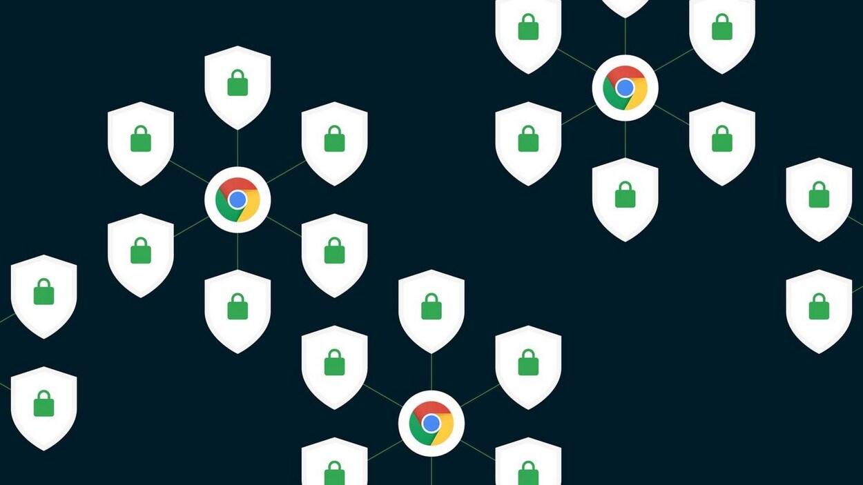 Une illustration de logos Google Chrome, de boucliers et de cadenas, représentant la sécurité de la navigation.