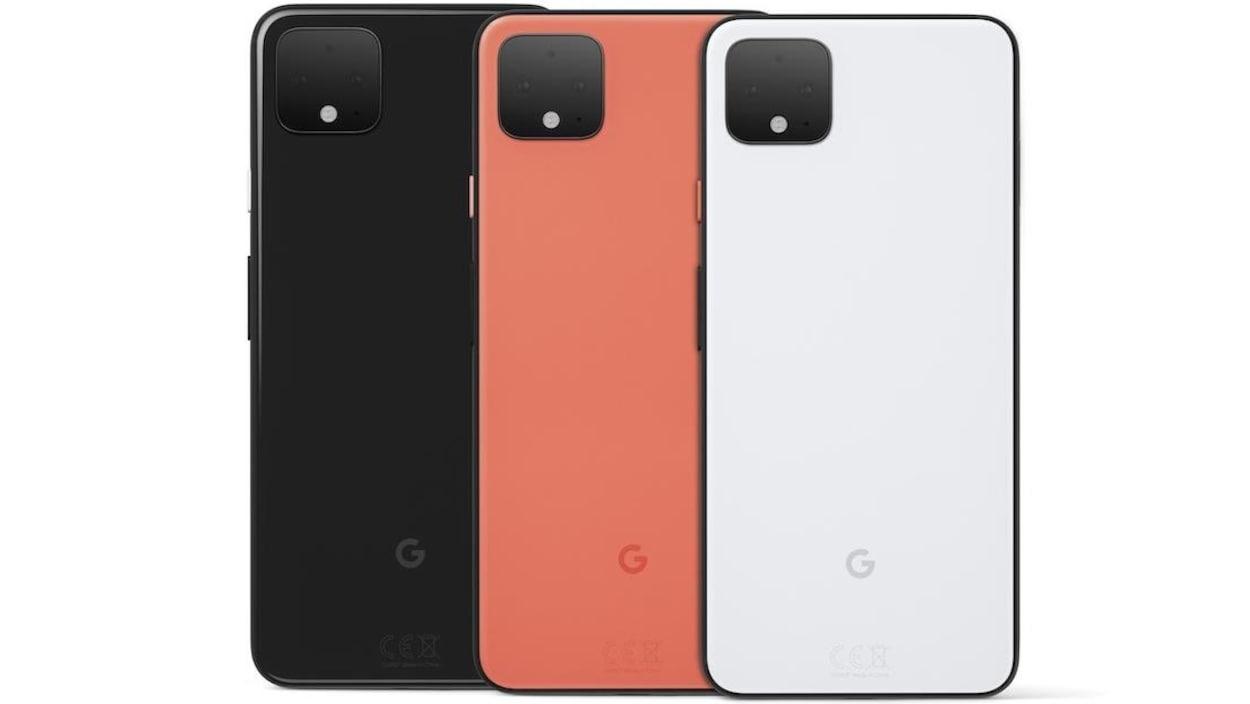 Le téléphone Google Pixel 4 en noir, orange et blanc.