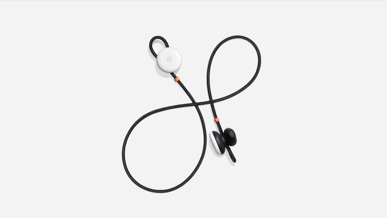 Une photo des écouteurs Pixel Buds de Google.
