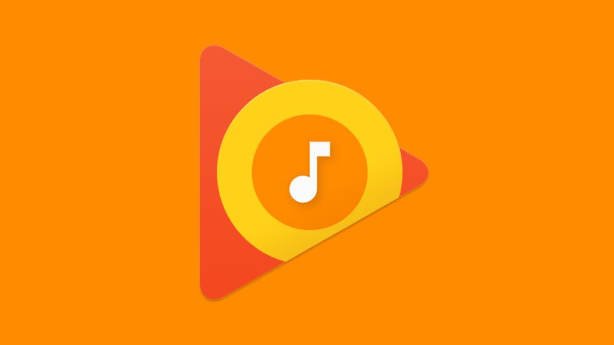 Le logo de Google Play Musique sur un fond orange.