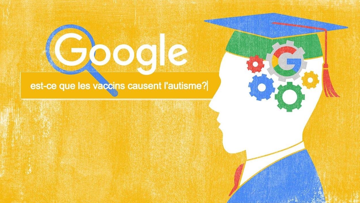 Illustration de Sophie Leclerc montrant le concept de l'université Google.
