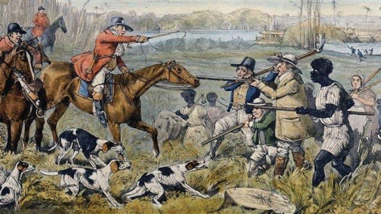Paysans et chasseurs s'affrontent.