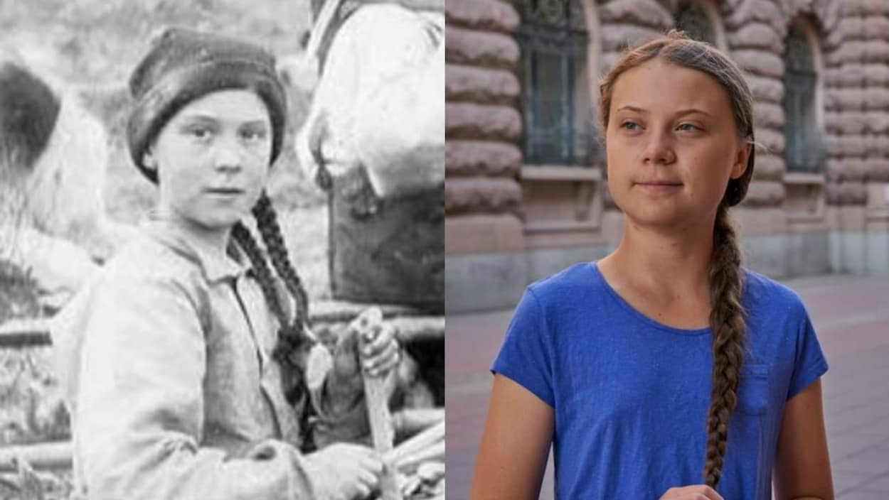 Une photo d'archive et une photo de la militante Greta Thunberg.