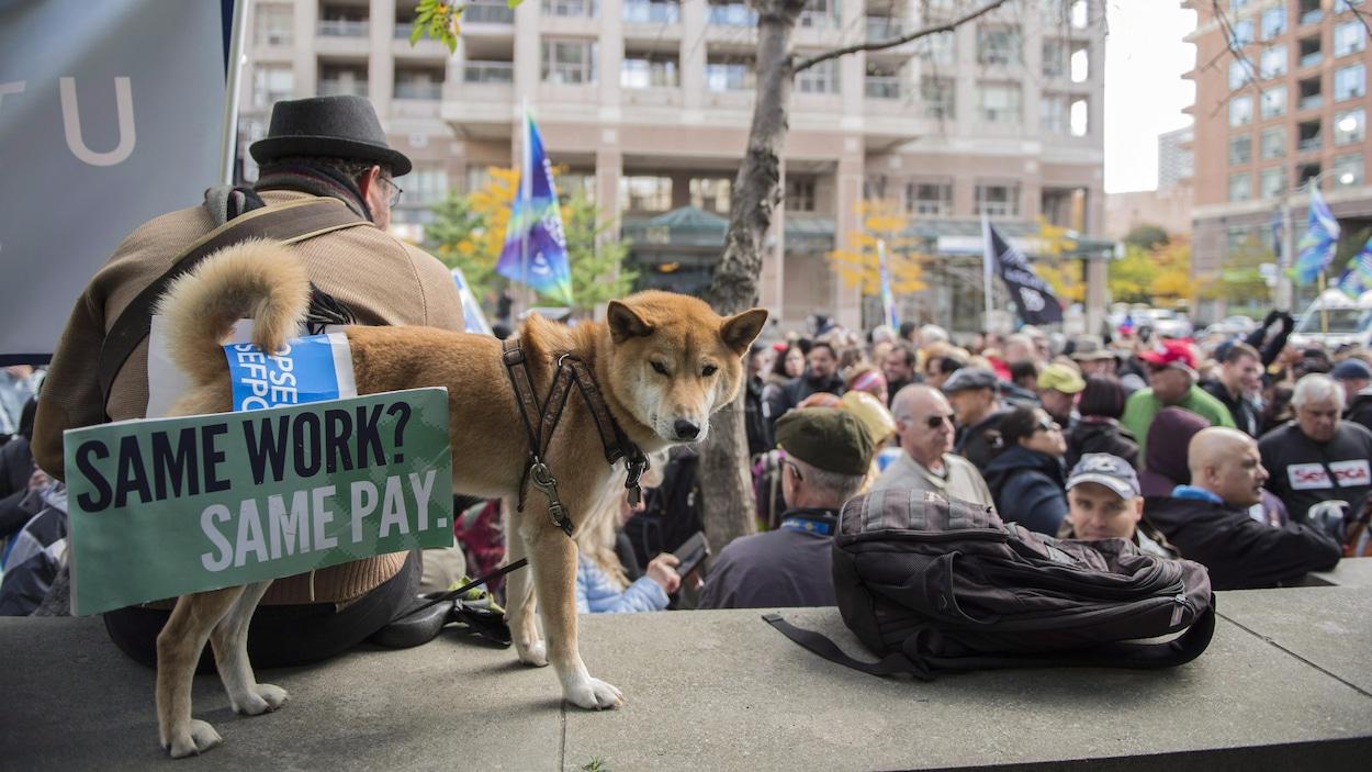 Un rassemblement des professeurs des collèges en grève à Toronto le 25 octobre.