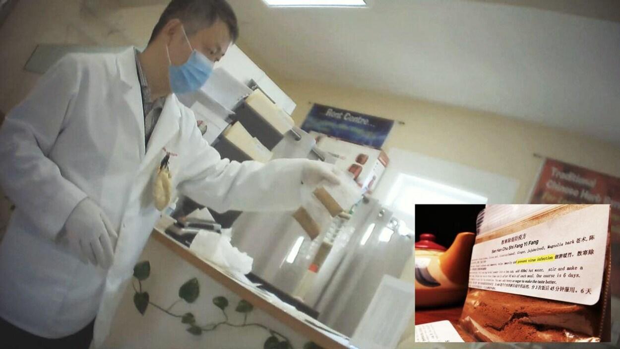 Le thérapeute acupuncteur et spécialiste en médecine traditionnelle chinoise, Guojian Huang, dans sa clinique proposant son mélange d'herbes à une journaliste de CBC.